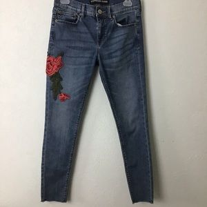 Express Ankle Jean Midrise Leg Embroidered Rose